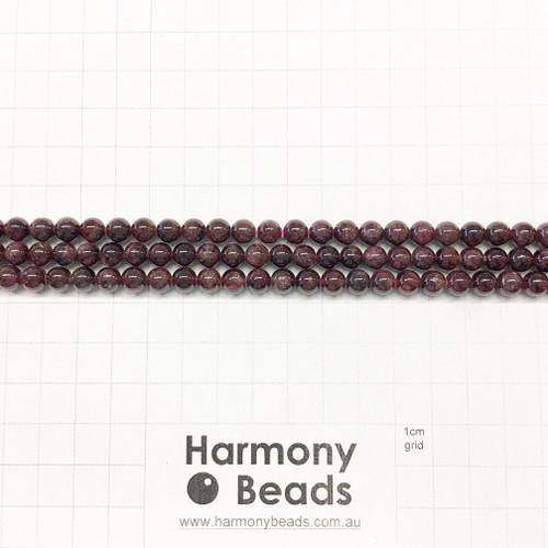 Garnet Smooth Round Beads, Natural, 6mm