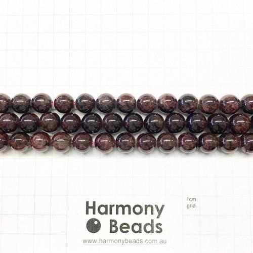 Garnet Smooth Round Beads, Natural, 10mm