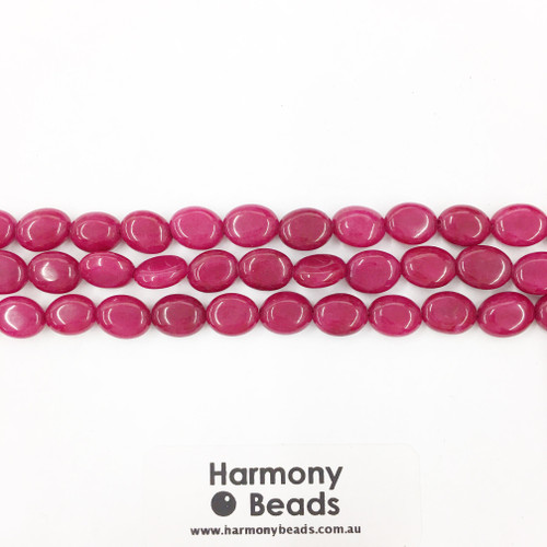 Red Jade Flat Oval Beads, Dyed, 8x10mm