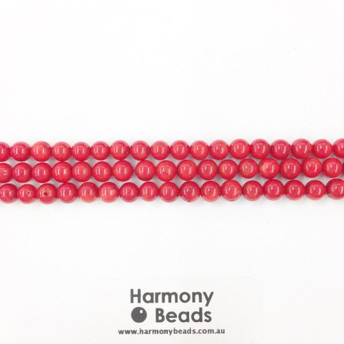 Coral Sea Bamboo Smooth Round Beads, Red, 6mm
