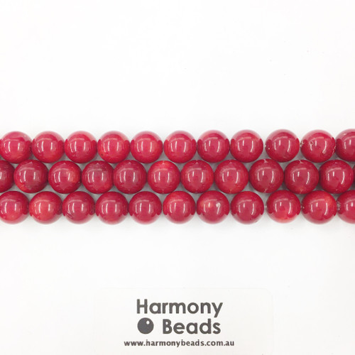Coral Sea Bamboo Smooth Round Beads, Red, 10mm