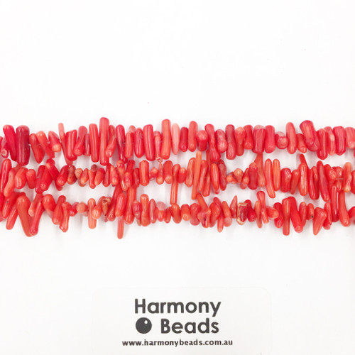Coral Sea Bamboo Smooth Round Beads, Red, Mini Twigs 10x3mm