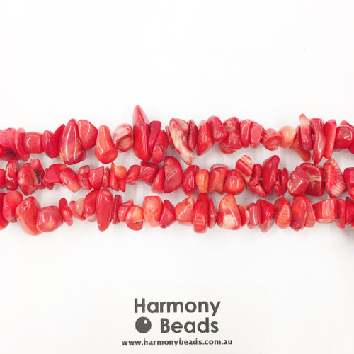 Coral Sea Bamboo Small Chip Beads, Red