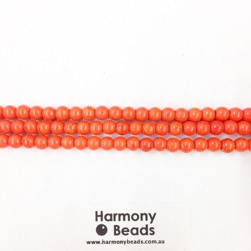 Howlite Smooth Round Beads, Orange Dyed, 6mm