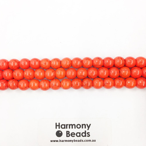 Howlite Smooth Round Beads, Orange Dyed, 8mm