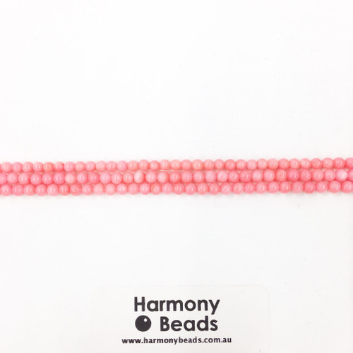 Coral Smooth Round Beads, Pink, 3mm