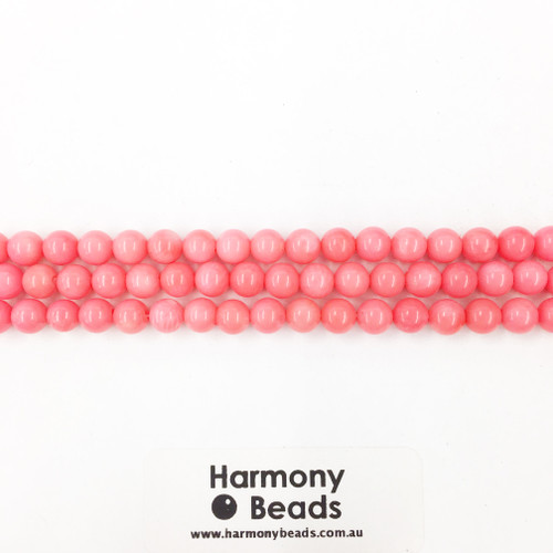 Coral Smooth Round Beads, Pink, 7mm