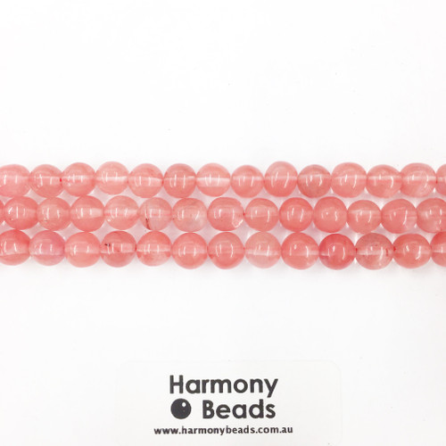 Cherry Quartz Smooth Round Beads, 8mm