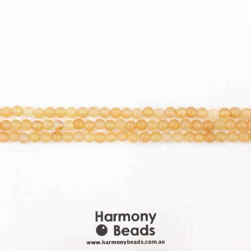 Aventurine Smooth Round Beads, Red Orange, 4mm
