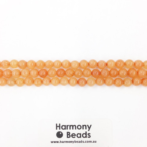 Aventurine Smooth Round Beads, Red Orange, 6mm