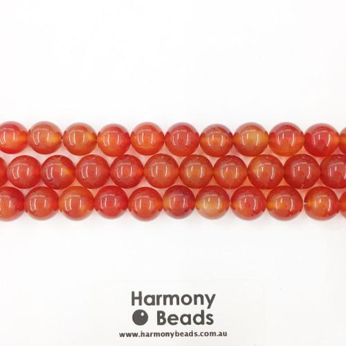 Carnelian Smooth Round Beads, 10mm