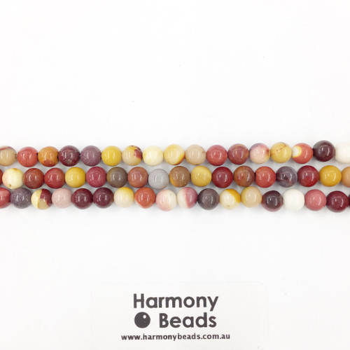 Mookaite Smooth Round Beads, Natural, 6mm