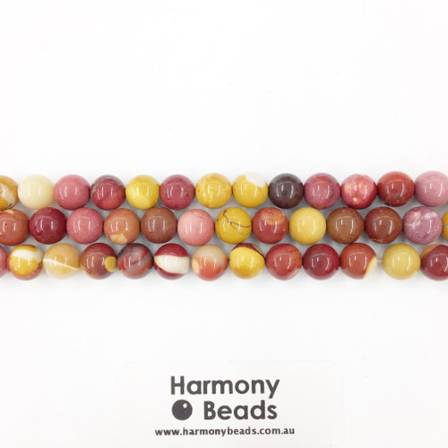 Mookaite Smooth Round Beads, Natural, 8mm