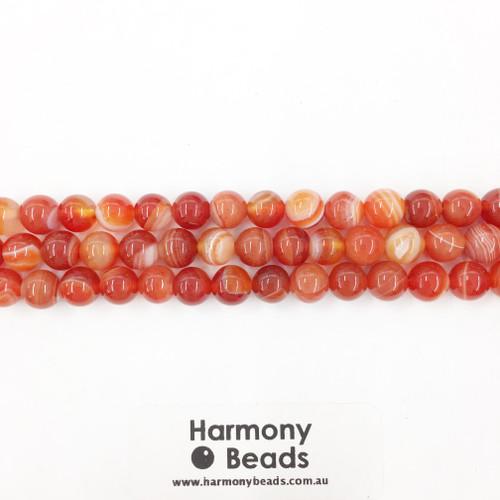 Striped Agate Smooth Round Beads, Orange, 8mm