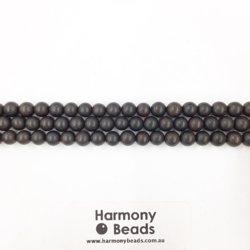 Sandalwood Smooth Round Beads, Black, 6mm