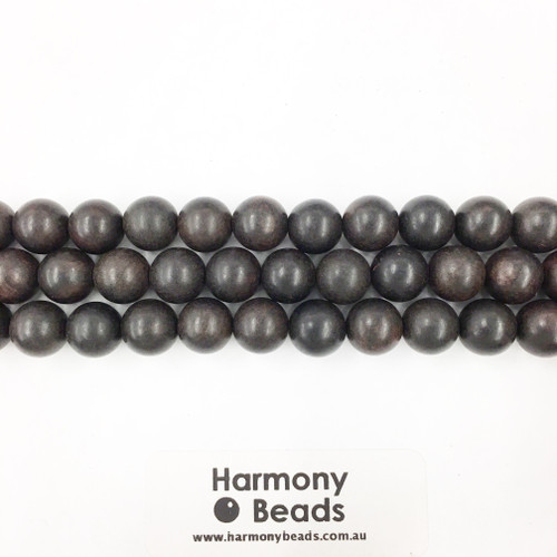 Sandalwood Smooth Round Beads, Black, 10mm