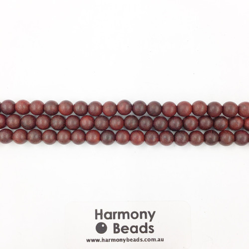Sandalwood Smooth Round Beads, Red Brown, 6mm