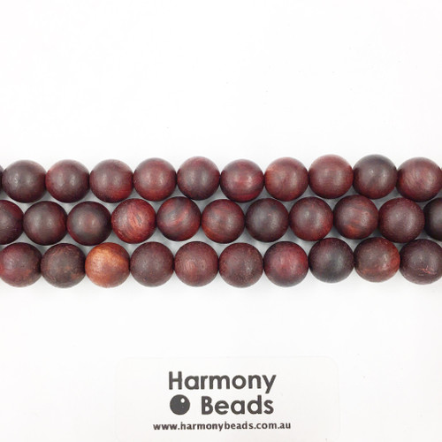 Sandalwood Smooth Round Beads, Red Brown, 10mm
