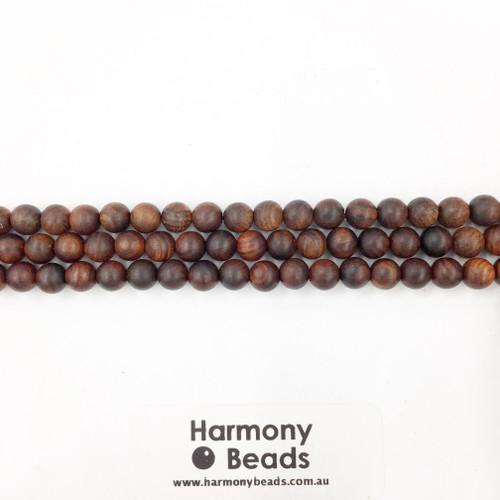 Sandalwood Smooth Round Beads, Brown, 6mm