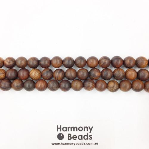 Sandalwood Smooth Round Beads, Brown, 8mm