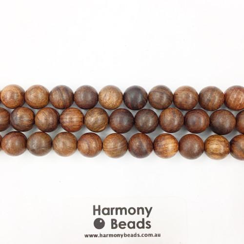 Sandalwood Smooth Round Beads, Brown, 10mm