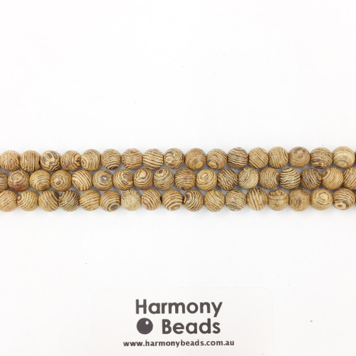 Sandalwood Smooth Round Beads, Natural Striped, 6mm