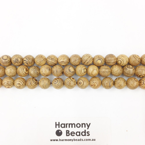 Sandalwood Smooth Round Beads, Natural Striped, 8mm