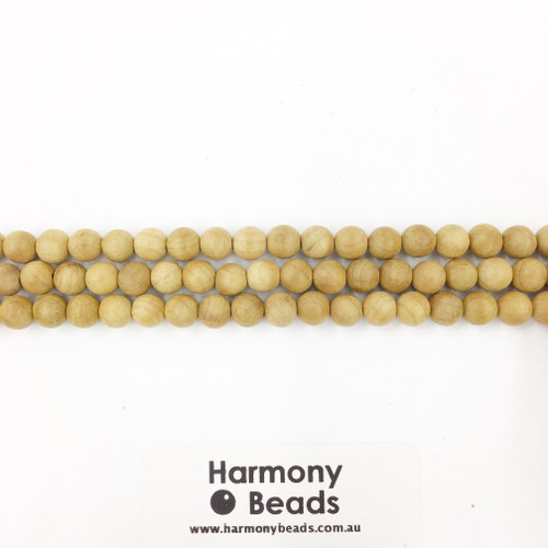 Sandalwood Smooth Round Beads, Natural Raw, 6mm