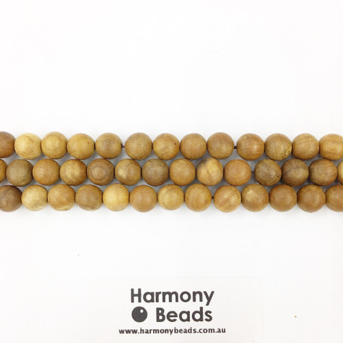 Sandalwood Smooth Round Beads, Natural Raw, 8mm