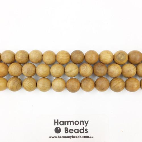 Sandalwood Smooth Round Beads, Natural Raw, 10mm