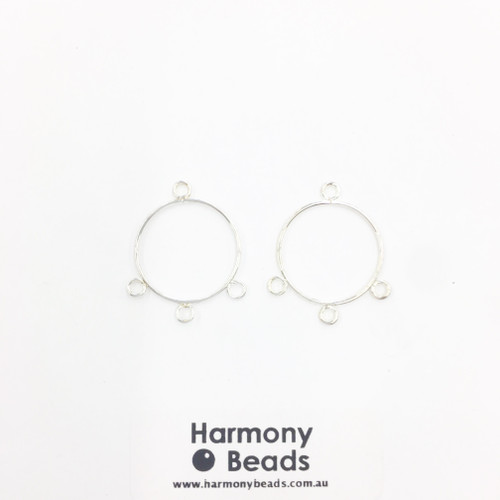 Earring Drop Parts, Circle - 3 Drop, 22mm Silver Colour [2 pairs]