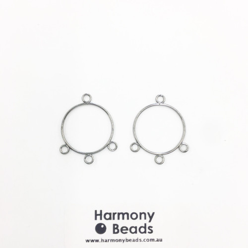 Earring Drop Parts, Circle - 3 Drop, 22mm Nickel Colour [2 pairs]
