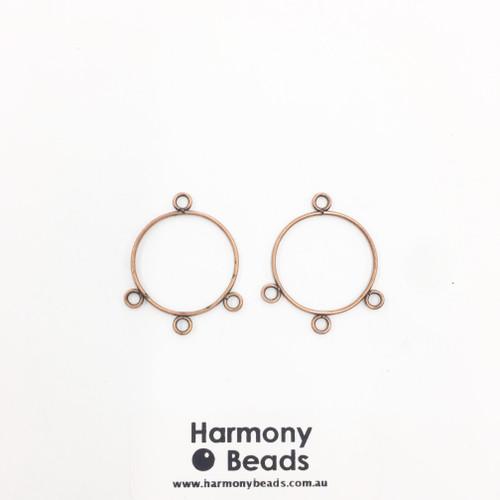 Earring Drop Parts, Circle - 3 Drop, 22mm Antique Copper [2 pairs]