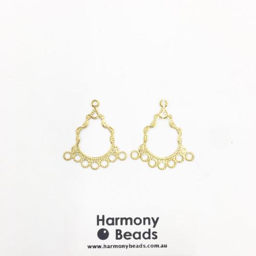 Earring Drop Parts, Fancy Filigree Chandelier - 7 Drop, 30x26mm Gold Colour  [2 pairs]