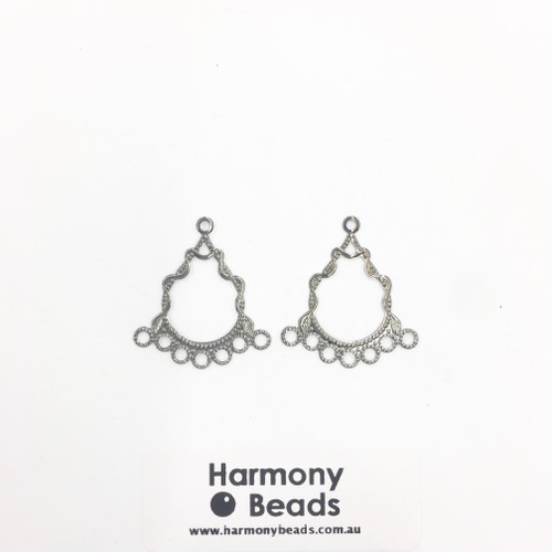 Earring Drop Parts, Fancy Filigree Chandelier - 7 Drop, 30x26mm Nickel Colour [2 pairs]