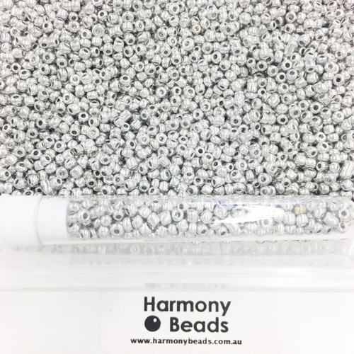 Glass Seed Beads 8/0 Metallic Silver [5 gram tube]