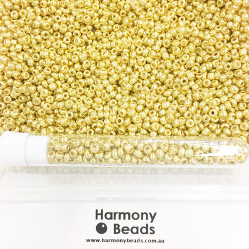 Glass Seed Beads 8/0 Metallic Gold [5 gram tube]