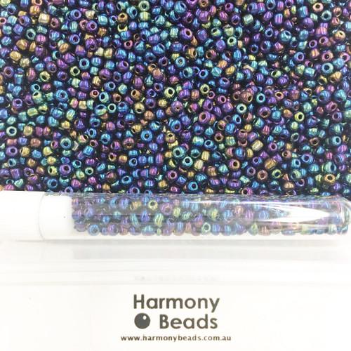 Glass Seed Beads 8/0 Metallic Blue Iris [5 gram tube]