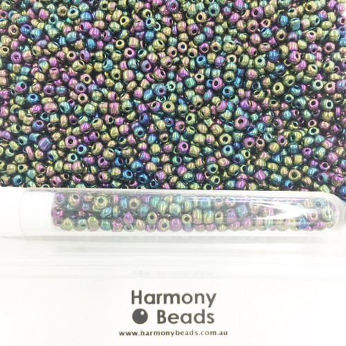 Glass Seed Beads 8/0 Metallic Purple Iris [5 gram tube]