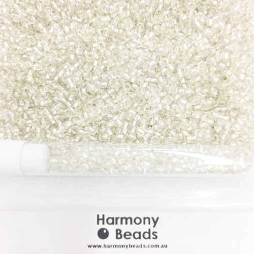 Glass Seed Beads 8/0 Silver Lined Clear [5 gram tube]