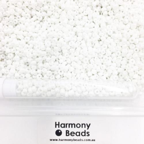 Glass Seed Beads 8/0 Opaque White Lustre [5 gram tube]