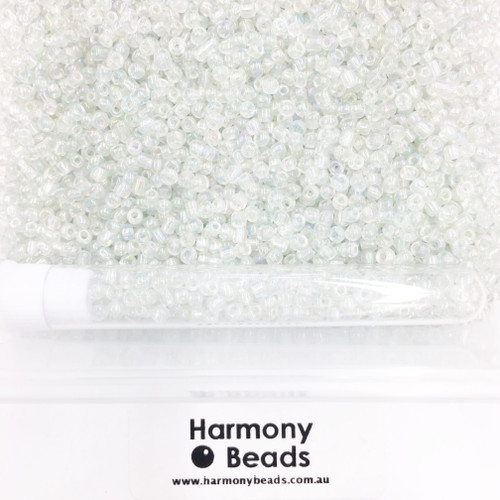 Glass Seed Beads 8/0 Clear Transparent AB [5 gram tube]