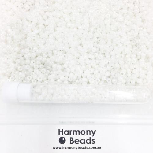 Glass Seed Beads 8/0 White Ceylon Pearlescent [5 gram tube]