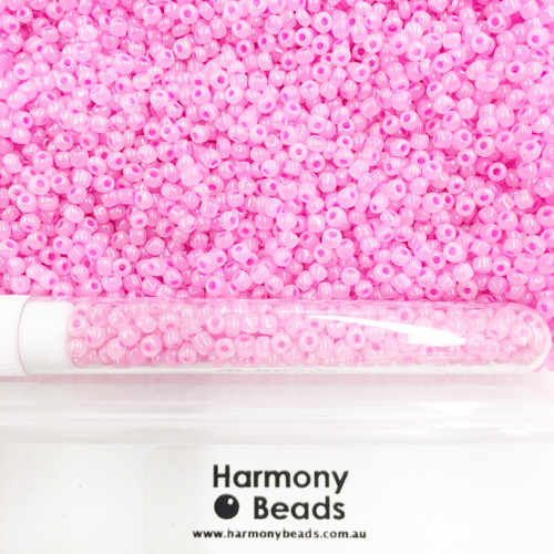 Glass Seed Beads 8/0 Pink Bright Barbie Ceylon Pearlescent [5 gram tube]