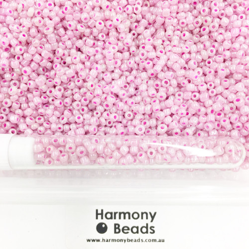 Glass Seed Beads 8/0 Pink Ceylon Pearlescent [5 gram tube]