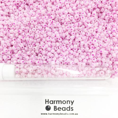 Glass Seed Beads 8/0 Medium Orchid Ceylon Pearlescent [5 gram tube]