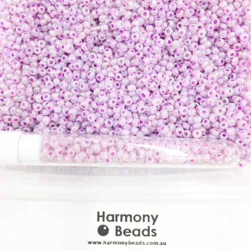 Glass Seed Beads 8/0 Plum Pale Purple Ceylon Pearlescent [5 gram tube]
