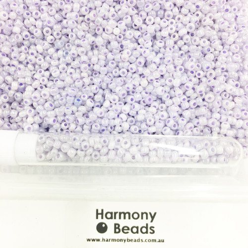 Glass Seed Beads 8/0 Lilac Pale Purple Ceylon Pearlescent [5 gram tube]