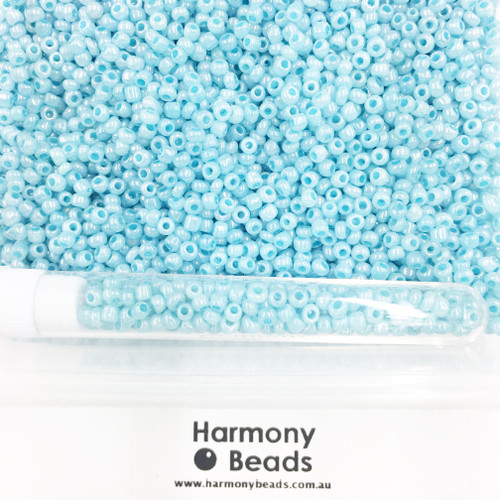 Glass Seed Beads 8/0 Pale Turquoise Blue Ceylon Pearlescent [5 gram tube]
