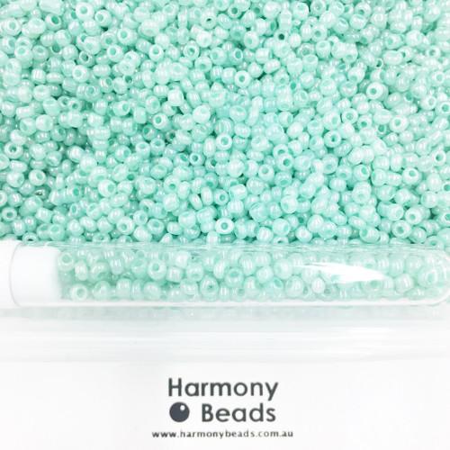 Glass Seed Beads 8/0 Aqua Mint Ceylon Pearlescent [5 gram tube]